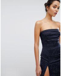 Bec & Bridge - Blue Floral Print Bardot Mini Dress - Lyst