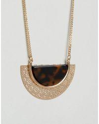 ASOS - Metallic Resin Semi Circle Long Pendant Necklace - Lyst