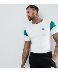 ee0e62fe Lyst - PUMA Panel T-shirt In Muscle Fit In White Exclusive To Asos ...