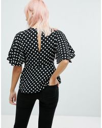 New Look - Black Spot Waisted Shell Top - Lyst