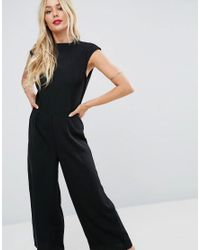 ASOS - Black Jumpsuit With High Neck And Wide Leg - Lyst