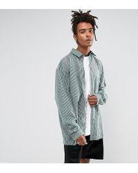 Reclaimed (vintage) Green Inspired Oversized Shirt In Stripe for men