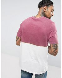 ASOS - Red T-shirt In Relaxed Fit With Dip Dye for Men - Lyst
