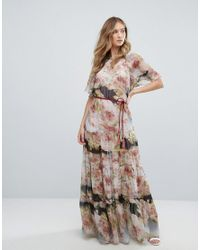 a9d68861f264 Traffic People. Women's Short Sleeve Printed Chiffon Floral Bloom Maxi Dress
