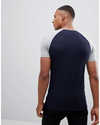 ASOS - Blue Design Muscle Raglan T-shirt With Contrast Sleeves 2 Pack Save for Men - Lyst