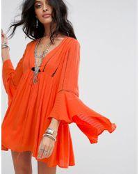 Free People | Orange Romeo Flared Sleeve Dress | Lyst