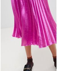 Vero Moda - Pink Pleated Midi Skirt - Lyst