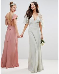 ASOS - Pink Design Bridesmaid Lace Applique Delicate Strap Maxi Dress - Lyst