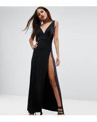 ASOS | Black Super Thigh Split Maxi Dress | Lyst