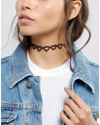 ASOS - Black Open Hearts Choker Necklace - Lyst