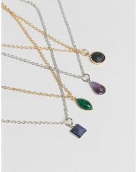 ASOS - Multicolor Pack Of 4 Stone Charm Choker Necklaces - Lyst