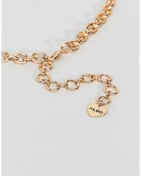ALDO - Metallic Embellished Floral Statement Necklace - Lyst