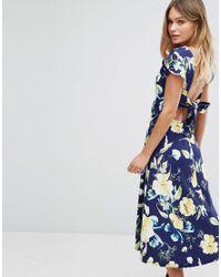 a0cf5c482890 Boohoo Floral Print Tie Back Midi Skater Dress in Blue - Lyst