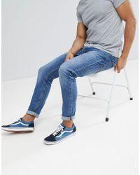 Stradivarius - Skinny Jeans In Mid Blue for Men - Lyst