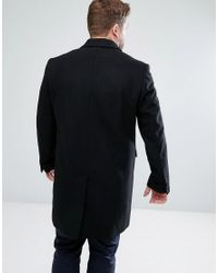 ASOS - Asos Plus Wool Mix Overcoat In Black for Men - Lyst