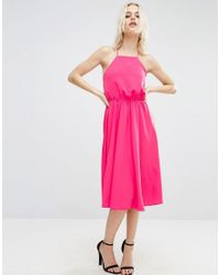 ASOS - Pink Open Cross Back Midi Dress - Lyst