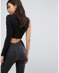 PRETTYLITTLETHING - Black One Shoulder Crop Top - Lyst