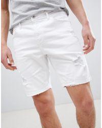 Bershka - Slim Fit Denim Shorts With Rips In White for Men - Lyst