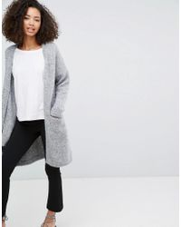 Monki | Gray Longline Knitted Cardigan | Lyst