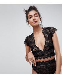 ASOS - Black Eyelash Lace Highwaist Thong - Lyst