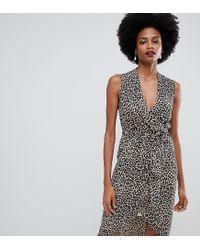 4271fe24b50b Oasis - Multicolor Wrap Front Midi Dress In Animal Print - Lyst