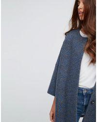 Helene Berman | Blue Wool Blend Kimono Bobble Knit Coat | Lyst