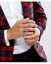 ASOS - Metallic Nautical Chunky Ring Pack In Burnished Silver for Men - Lyst