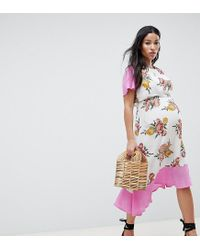 8efeef8bcb3ff Women's Pink Asos Design Maternity Nursing Double Layer Midi Dress In  Floral Print