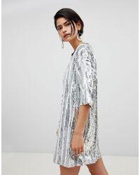 97b180eb1fbe RAGYARD Stripe Sequin T-shirt Dress in Metallic - Lyst