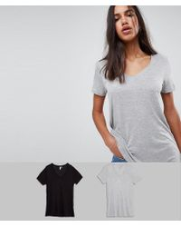 ASOS - Multicolor V-neck Swing T-shirt 2 Pack Save 10% - Lyst