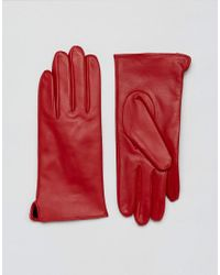 Barney's Originals - Red Real Leather Gloves - Lyst