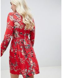 Club L - Red Sleeve Printed Collar Detailed Shirt Dress - Lyst