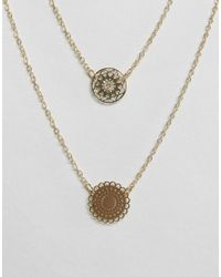 ASOS | Metallic Pack Of 2 Filigree Disc Necklaces | Lyst