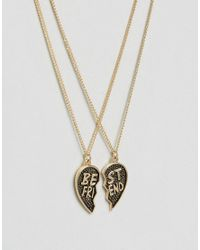 Monki | Metallic Best Friend Necklace | Lyst