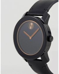 Movado | Bold 3600297 Leather Watch In Black for Men | Lyst