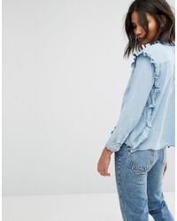 Mango - Blue Frill Denim Shirt - Lyst