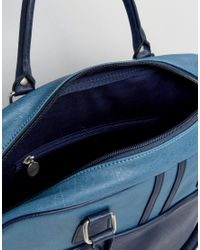 Pretty Green - Blue Faux Leather Logo Gym Bag for Men - Lyst