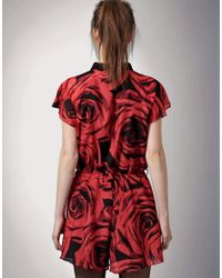 Antipodium - Red Better The Devil Rose Print Playsuit - Lyst