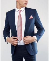 ASOS - Wedding Tie And Pocket Square Pack In Pink for Men - Lyst