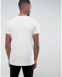 SELECTED - Blue T-shirt In Oversized Fit With Stripe Organic Cotton for Men - Lyst