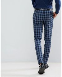 ASOS - Asos Super Skinny Suit Pants In Blue Plaid Check for Men - Lyst
