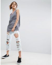 ASOS | Gray Tank With Bright Sports Tipping | Lyst