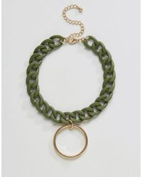 ASOS - Green Chain Toggle Choker Necklace - Lyst