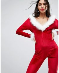 Club L - Red Sexy Santa Catsuit With Faux Fur Trim - Lyst