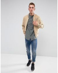 Siksilk - Gray Muscle Shirt In Khaki With Jersey Sleeves for Men - Lyst