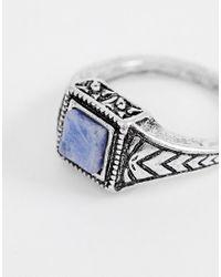 ASOS - Metallic Ring in der Farbe Silber poliert mit Schmuckstein in Marine for Men - Lyst