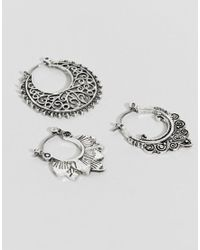 ASOS - Metallic Design Pack Of 3 Cut Out And Engraved Hoop Earrings - Lyst