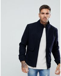 Bellfield - Blue Wool Blend Harrington Jacket for Men - Lyst