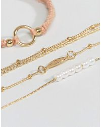ASOS - Multicolor Pack Of 4 Fine Cord And Metal Bracelets - Lyst