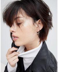 ASOS - Metallic Sterling Silver Half Hoop Chain Stud Earrings - Lyst